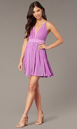 Short Homecoming Party Dress with Plunging V-Neck