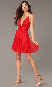 Image of chiffon backless short red homecoming party dress. Style: LUX-LD5470 Front Image