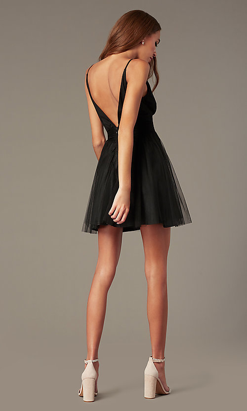 Image of fit-and-flare black open-v-back homecoming dress. Style: LUX-LD5548 Back Image