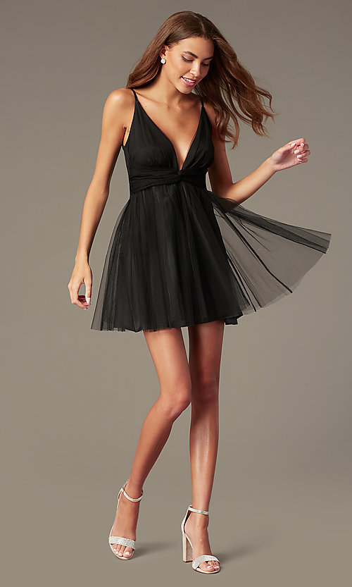 Image of fit-and-flare black open-v-back homecoming dress. Style: LUX-LD5548 Front Image