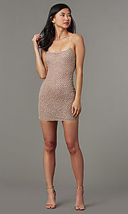 Image of fitted glitter short homecoming dress with beading. Style: LUX-LD5153 Detail Image 2