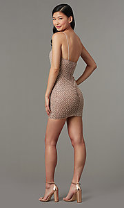 Image of fitted glitter short homecoming dress with beading. Style: LUX-LD5153 Back Image