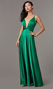 Image of knotted-waist long satin formal dress with slits. Style: LUX-LD5432 Front Image
