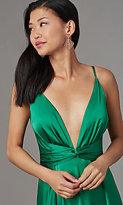 Image of knotted-waist long satin formal dress with slits. Style: LUX-LD5432 Detail Image 1
