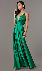 Image of knotted-waist long satin formal dress with slits. Style: LUX-LD5432 Detail Image 2