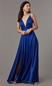 Image of knotted-waist long satin formal dress with slits. Style: LUX-LD5432 Detail Image 3