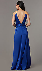 Image of knotted-waist long satin formal dress with slits. Style: LUX-LD5432 Detail Image 4