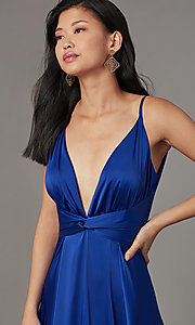 Image of knotted-waist long satin formal dress with slits. Style: LUX-LD5432 Detail Image 5