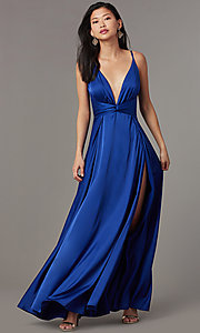 Image of knotted-waist long satin formal dress with slits. Style: LUX-LD5432 Detail Image 6