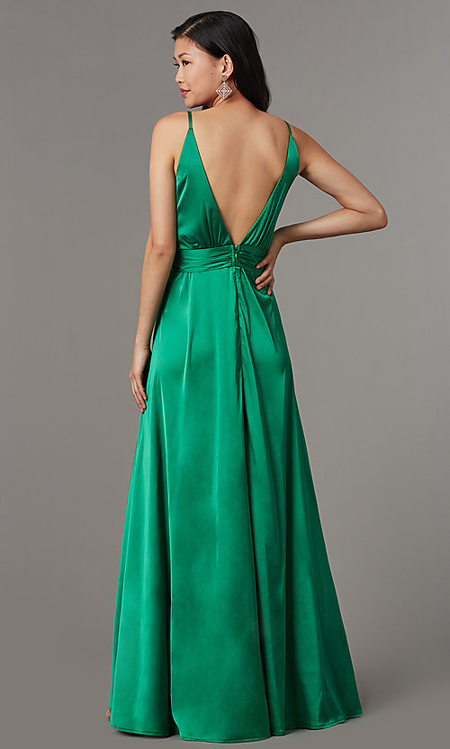 Image of knotted-waist long satin formal dress with slits. Style: LUX-LD5432 Back Image