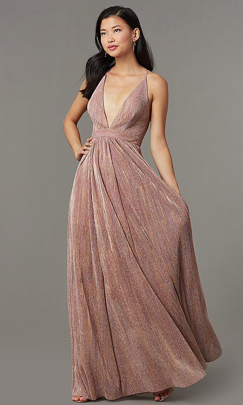 Image of long metallic-knit v-neck formal dress in blush pink. Style: LUX-LD5541 Front Image