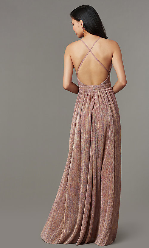 Image of long metallic-knit v-neck formal dress in blush pink. Style: LUX-LD5541 Back Image