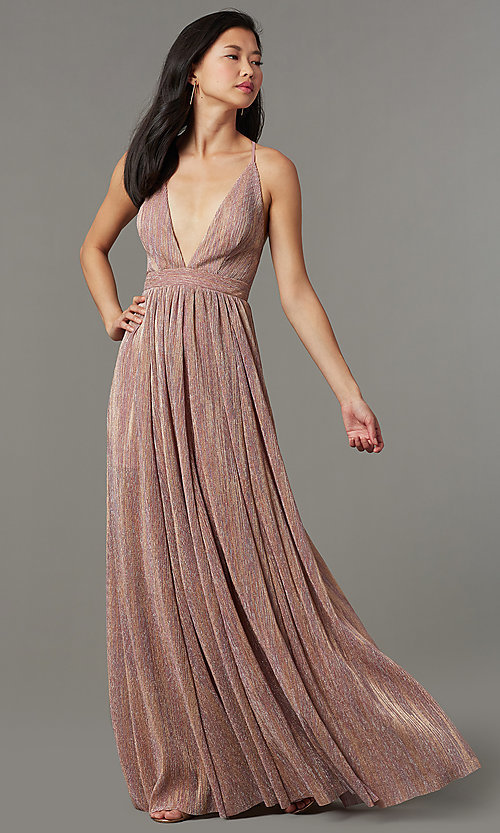 Image of long metallic-knit v-neck formal dress in blush pink. Style: LUX-LD5541 Detail Image 1