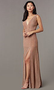 Image of pleated long glitter-knit formal evening dress. Style: LUX-LD5488 Front Image