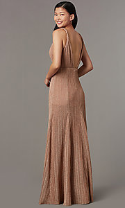 Image of pleated long glitter-knit formal evening dress. Style: LUX-LD5488 Back Image