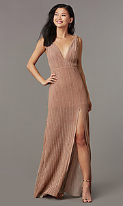 Image of pleated long glitter-knit formal evening dress. Style: LUX-LD5488 Detail Image 2