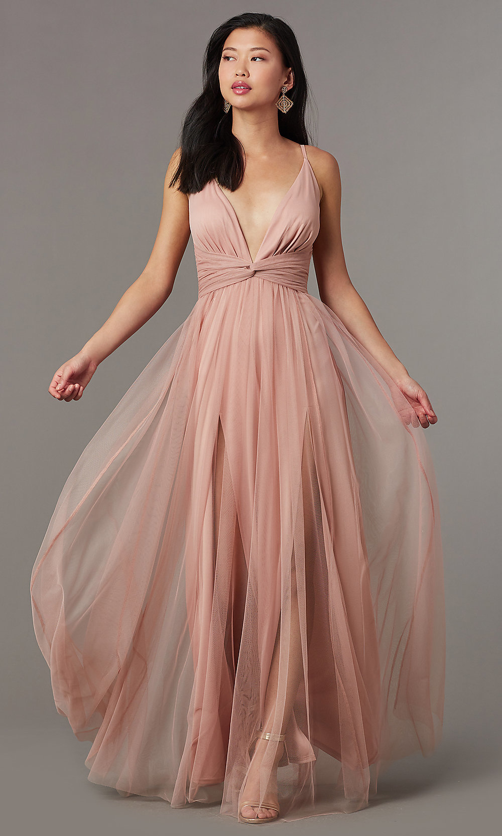 a3e5db614b69e Knotted-Waist Sexy Long Formal Dress in Blush Pink