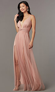 Image of knotted-waist long sexy formal dress in blush pink. Style: LUX-LD5462 Front Image