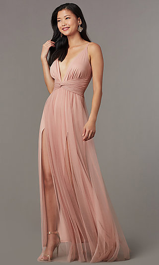 Knotted-Waist Long Sexy Formal Dress in Blush Pink