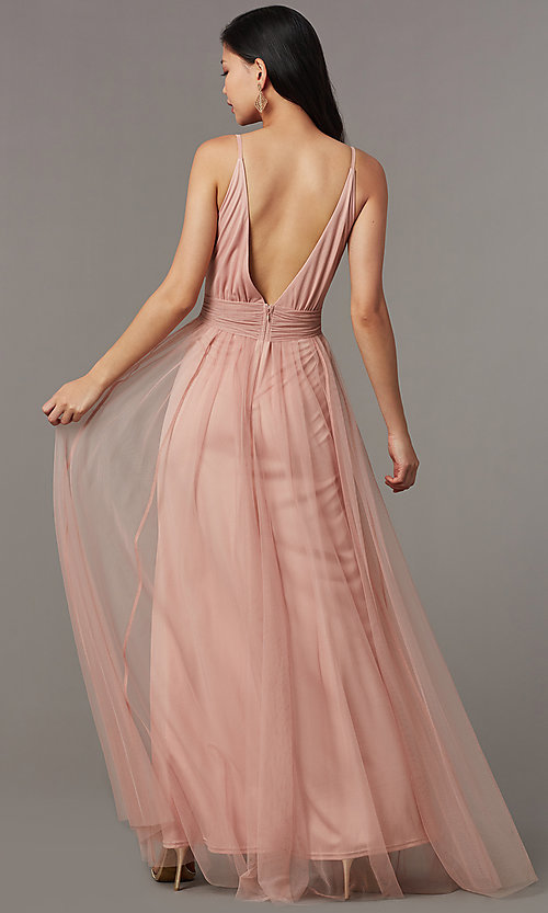 Image of knotted-waist long sexy formal dress in blush pink. Style: LUX-LD5462 Back Image