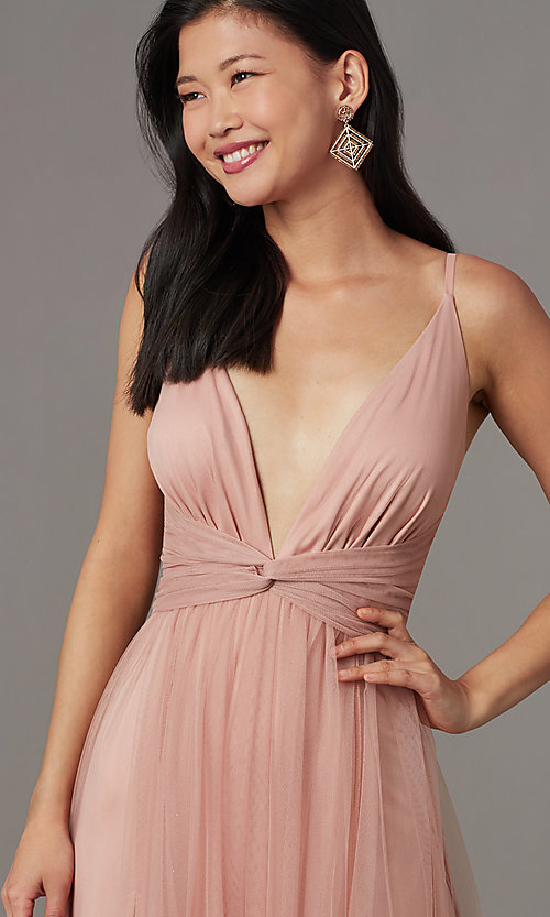 Image of knotted-waist long sexy formal dress in blush pink. Style: LUX-LD5462 Detail Image 1