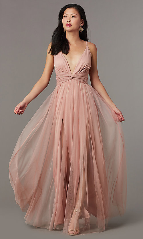 Image of knotted-waist long sexy formal dress in blush pink. Style: LUX-LD5462 Detail Image 2