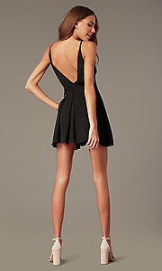 Image of short open-v-back black homecoming dress. Style: LUX-LD5683 Back Image