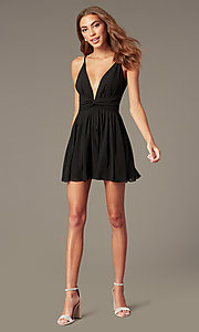 Image of short open-v-back black homecoming dress. Style: LUX-LD5683 Detail Image 1