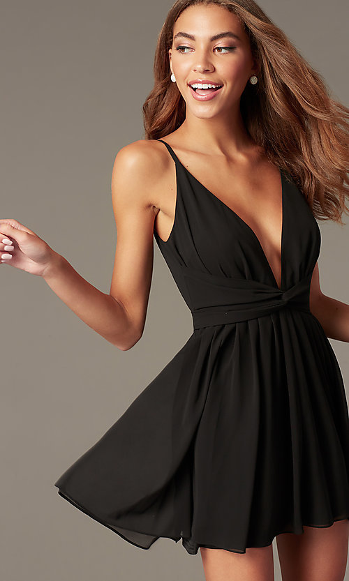 Image of short open-v-back black homecoming dress. Style: LUX-LD5683 Front Image
