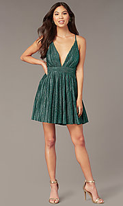Image of deep-v-neck metallic short green hoco party dress. Style: LUX-LD5525 Detail Image 2