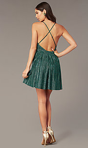 Image of deep-v-neck metallic short green hoco party dress. Style: LUX-LD5525 Detail Image 3