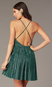 Image of deep-v-neck metallic short green hoco party dress. Style: LUX-LD5525 Back Image
