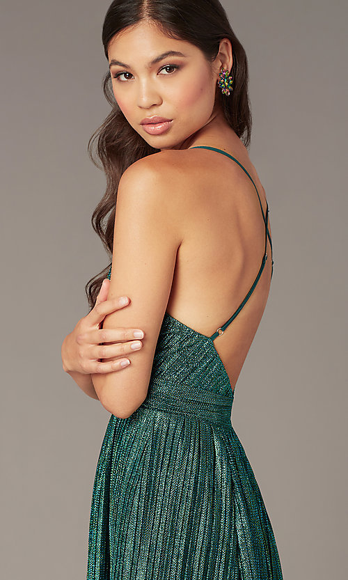 Image of deep-v-neck metallic short green hoco party dress. Style: LUX-LD5525 Detail Image 1