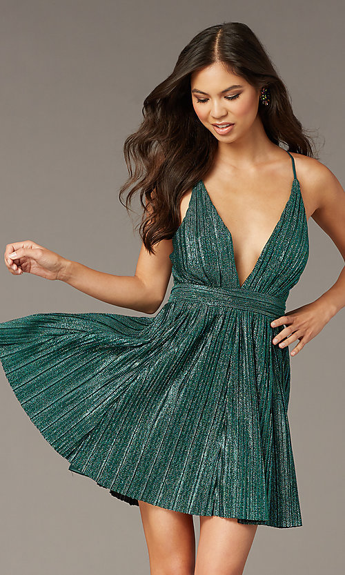 Image of deep-v-neck metallic short green hoco party dress. Style: LUX-LD5525 Front Image