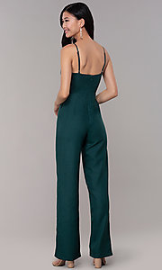Image of hunter green long wedding-guest party jumpsuit. Style: BLU-18IBR1769 Back Image