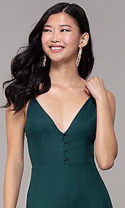 Image of hunter green long wedding-guest party jumpsuit. Style: BLU-18IBR1769 Detail Image 1