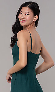 Image of hunter green long wedding-guest party jumpsuit. Style: BLU-18IBR1769 Detail Image 2