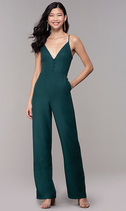Image of hunter green long wedding-guest party jumpsuit. Style: BLU-18IBR1769 Front Image