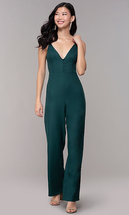 Image of hunter green long wedding-guest party jumpsuit. Style: BLU-18IBR1769 Detail Image 3