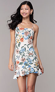 Image of graduation party short floral-print sheath dress. Style: BLU-BD8830-6 Front Image