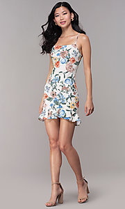 Image of graduation party short floral-print sheath dress. Style: BLU-BD8830-6 Detail Image 3