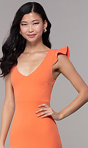 Image of short orange party dress with corset back. Style: BLU-BD89641-1 Detail Image 1