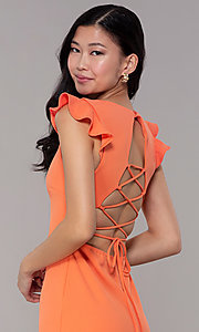Image of short orange party dress with corset back. Style: BLU-BD89641-1 Detail Image 2