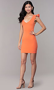 Image of short orange party dress with corset back. Style: BLU-BD89641-1 Detail Image 3