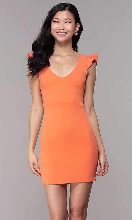 Image of short orange party dress with corset back. Style: BLU-BD89641-1 Front Image