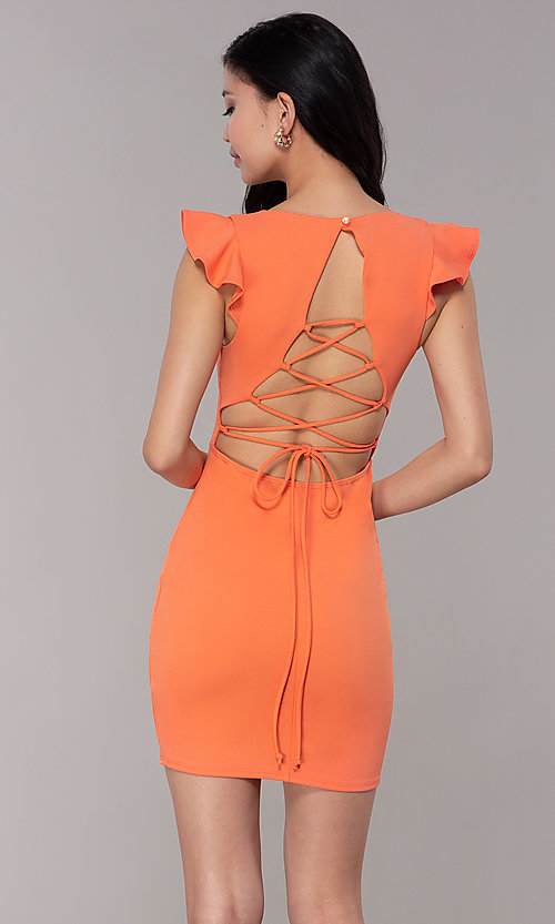 Image of short orange party dress with corset back. Style: BLU-BD89641-1 Back Image