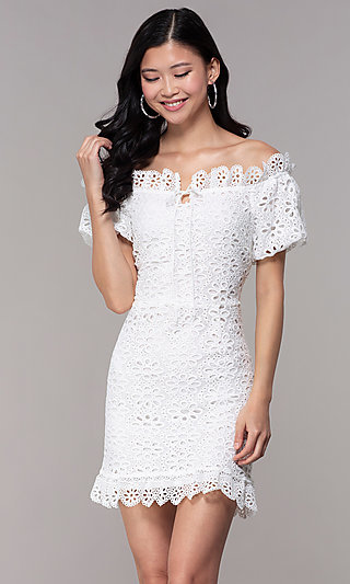 b984a1e9f73 Off-Shoulder Eyelet-Lace Grad Party Short Dress
