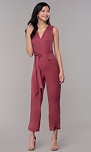 Image of marsala red v-neck cropped wedding-guest jumpsuit. Style: BLU-IBR1616 Front Image