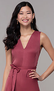 Image of marsala red v-neck cropped wedding-guest jumpsuit. Style: BLU-IBR1616 Detail Image 1