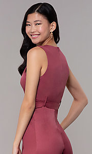 Image of marsala red v-neck cropped wedding-guest jumpsuit. Style: BLU-IBR1616 Detail Image 2